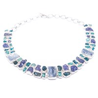 Poppy Jewellery Statement Apatite Tanzanite And Kyanite Gemstone Silver Necklace Blue