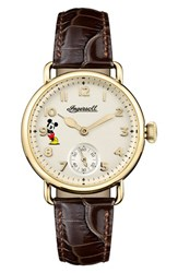 Ingersoll Watches 'S Trenton Disney Leather Strap Watch 31Mm Brown White Gold