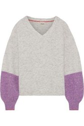 Charli Woman Abree Two Tone Brushed Knitted Sweater Light Gray