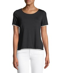 Casual Couture Zip Back Contrast Piped Tee Black White