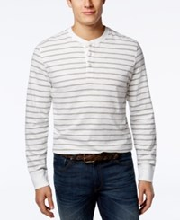Club Room Men's Lawrence Striped Long Sleeve Henley Only At Macy's Bright White