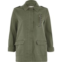 River Island Womens Khaki Green Patch Back Army Jacket