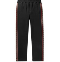 Fendi Logo Jacquard Trimmed Tech Jersey Sweatpants Black