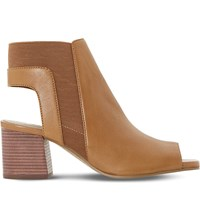 Dune Jericho Backless Leather Sandals Tan Leather
