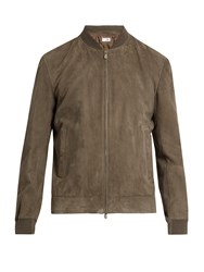 Brunello Cucinelli Zip Through Suede Bomber Jacket Grey