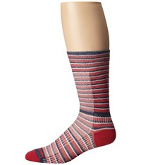 Wrightsock Cool Mesh Striped Crew Single Pack Red White Blue Crew Cut Socks Shoes Multi