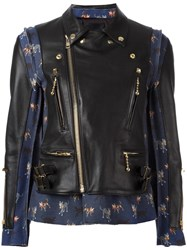 Undercover Panelled Leather Jacket Black