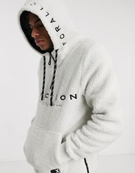 Tom Tailor Half Zip Hoodie In White
