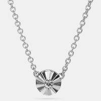 Coach Delicate Daisy Rivet Necklace Silver Black