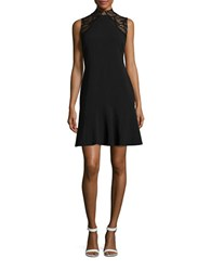 Ivanka Trump Lace Mockneck Sleeveless Fit And Flare Dress Black