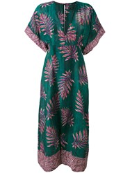 Vix Paula Hermanny Tropical Print Long Kaftan Women Silk Cotton L Green