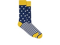 Corgi Men's Striped Polka Dot Mid Calf Socks Navy White Yellow