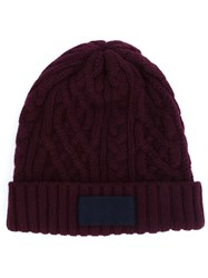 Sacai Cable Knit Beanie Pink And Purple