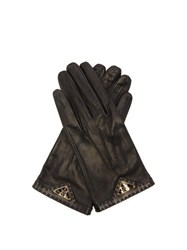 Prada Logo Plaque Leather Gloves Black