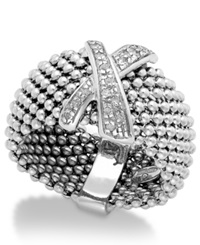 Macy's Diamond X Accent Mesh Ring In Sterling Silver 1 6 Ct. T.W.