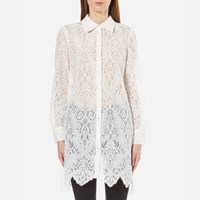Mcq By Alexander Mcqueen Women's Tunic Lace Shirt Dress Ivory White