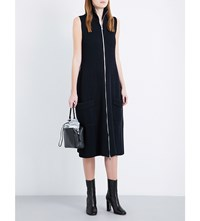 Maison Martin Margiela Stand Collar Ribbed Knit Dress Navy