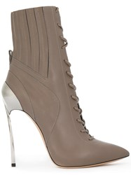 Casadei Techno Blade Lace Up Ankle Boots Women Calf Leather Leather Nappa Leather 37 Grey