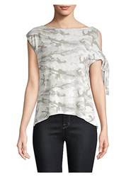 Red Haute One Shoulder Camo Tee Natural