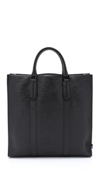 Ben Minkoff Embossed Leather Open Tote Black