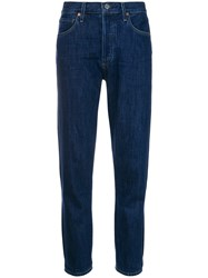 Citizens Of Humanity High Rise Raw Hem Skinny Jeans Cotton Rayon Blue