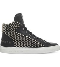 Philipp Plein Richy Stud Embellished Leather High Top Trainers Black
