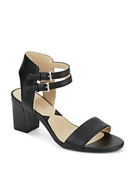 Adrienne Vittadini Palti Leather Sandals Black