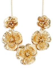 Miriam Haskell Vintage Floral Crystal Frontal Necklace Gold