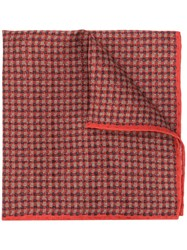Canali Checked Pocket Square Scarf Red