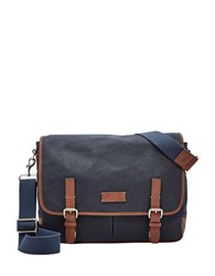 Fossil Graham Canvas Messenger Bag Navy