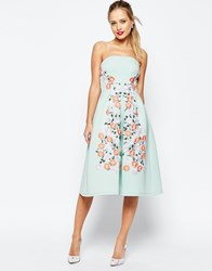 Asos Salon Floral Embroidered Bandeau Midi Prom Dress Green