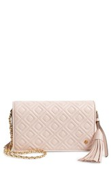 Tory Burch Fleming Leather Wallet Crossbody Pink Shell Pink