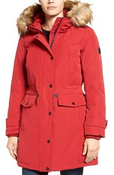 Michael Michael Kors Women's Faux Fur Trim Down And Feather Fill Parka Red