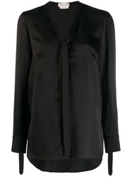 Alexander Mcqueen Pussy Bow Blouse Black