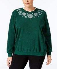 Alfred Dunner Plus Size Snowflake Holiday Sweater Dark Green