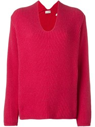 Moncler Ribbed Loose Fit Sweater Red