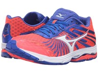 Mizuno Wave Sayonara 4 Fiery Coral Dazzling Blue White Women's Running Shoes Pink