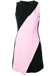 David Koma Two Tone Crepe Dress Black