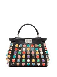 Fendi Peekaboo Mini Studded Leather Satchel Black