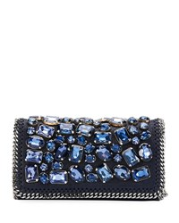 Stella Mccartney Falabella Crystal Embellished Clutch Bag Navy