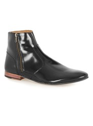 Topman Black Leather Zip Boots