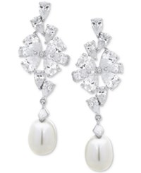 Arabella Cultured Freshwater Pearl 8Mm And Swarovski Zirconia Drop Earrings In Sterling Silver White