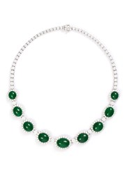 Lc Collection Diamond Jade 18K White Gold Necklace Metallic