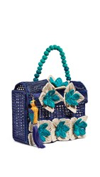 Mercedes Salazar Woven Satchel Blue Natural