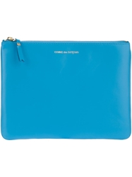 Comme Des Garcons Wallet Zip Up Pouch Blue