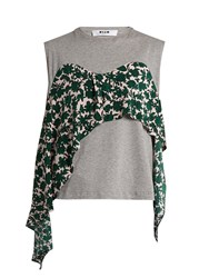 Msgm Contrast Silk Panel Cotton Jersey Top Grey Multi
