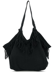 Caravana Haleb Shoulder Bag Jute Calf Leather Black
