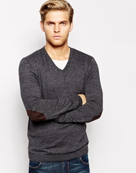 Asos V Neck Jumper With Patch In Cotton Charcoaltwist
