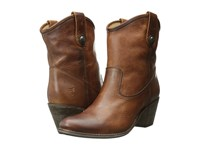 Frye Jackie Button Short Cognac Antique Pull Up Women's Dress Pull On Boots Brown