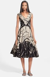 Tracy Reese Abstract Print Linen And Silk Jacquard Dress